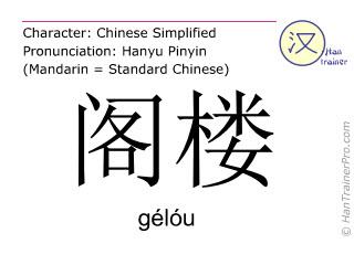 Chinesische Schriftzeichen  ( gelou / gélóu ) mit Aussprache (Deutsche Bedeutung: Dachboden )