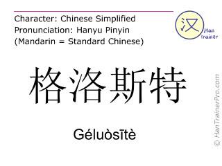 汉字  ( Geluosite / Géluòsītè ) 包括发音 (英文翻译: Gloucester )