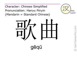 汉字  ( gequ / gēqŭ ) 包括发音 (英文翻译: song )