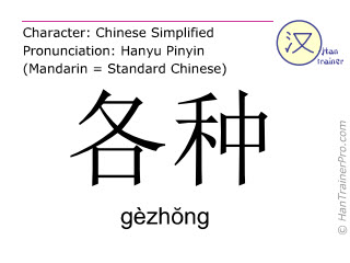 Chinese characters  ( gezhong / gèzhŏng ) with pronunciation (English translation: various )