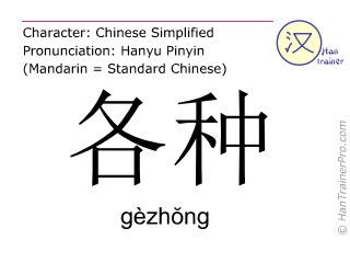 Chinesische Schriftzeichen  ( gezhong / gèzhŏng ) mit Aussprache (Deutsche Bedeutung: allerlei )