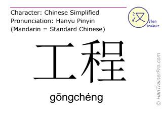 Caractère chinois  ( gongcheng / gōngchéng ) avec prononciation (traduction française: projet )