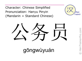 Chinese characters  ( gongwuyuan / gōngwùyuán ) with pronunciation (English translation: public servant )