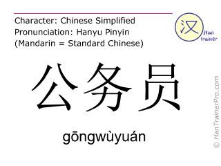Caractère chinois  ( gongwuyuan / gōngwùyuán ) avec prononciation (traduction française: fonctionnaire )