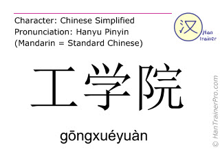 Chinese characters  ( gongxueyuan / g&#333ngxuéyuàn ) with pronunciation (English translation: college of engineering )