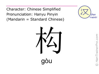 Chinesische Schriftzeichen  ( gou / gòu ) mit Aussprache (Deutsche Bedeutung: bauen )