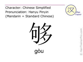 汉字  ( gou / gòu ) 包括发音 (英文翻译: enough )