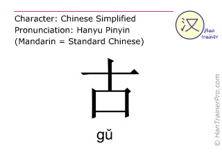 Chinese characters  ( gu / g&#365 ) with pronunciation (English translation: ancient )