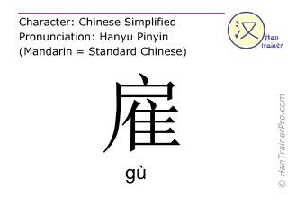 汉字  ( gu / gù ) 包括发音 (英文翻译: to hire )