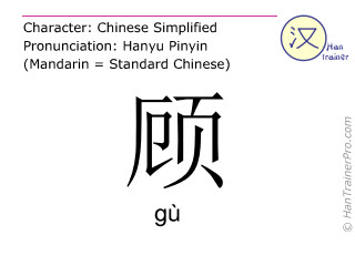 Chinese characters  ( gu / gù ) with pronunciation (English translation: to look at )