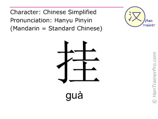 Chinese characters  ( gua / guà ) with pronunciation (English translation: to hang up )