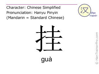 Caractère chinois  ( gua / guà ) avec prononciation (traduction française: suspendre )