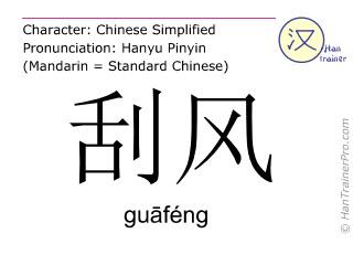 汉字  ( guafeng / gu&#257féng ) 包括发音 (英文翻译: windy )