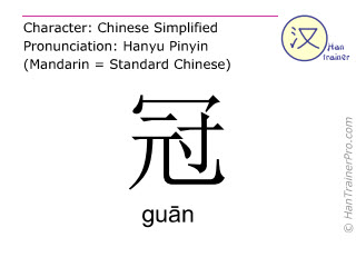 Chinese characters  ( guan / guān ) with pronunciation (English translation: <m>coronal</m> )