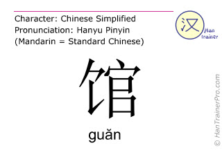 Chinese characters  ( guan / gu&#259n ) with pronunciation (English translation: hall )