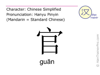 Chinese characters  ( guan / guān ) with pronunciation (English translation: officer )