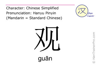 Chinese characters  ( guan / gu&#257n ) with pronunciation (English translation: <m>sight</m> )