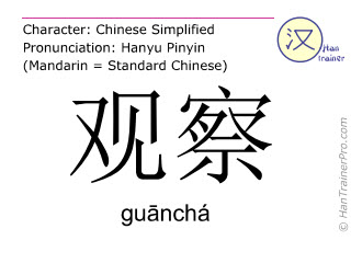 Chinese characters  ( guancha / guānchá ) with pronunciation (English translation: to observe )
