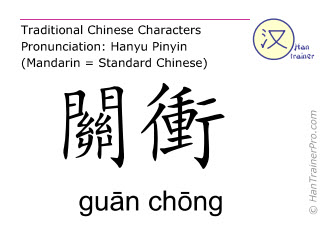 Chinese characters  ( guan chong / guān chōng ) with pronunciation (English translation: Triple Warmer 1 )