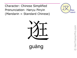 Chinese characters  ( guang / guàng ) with pronunciation (English translation: to stroll )