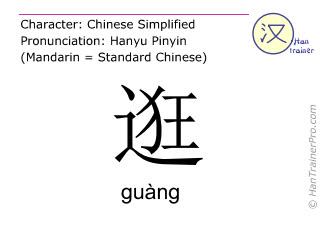 Caractère chinois  ( guang / guàng ) avec prononciation (traduction française: flâner )