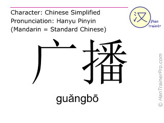 Chinese characters  ( guangbo / guăngbō ) with pronunciation (English translation: to broadcast )