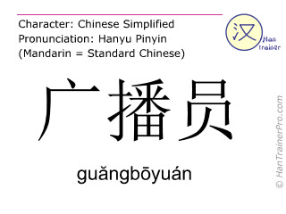 Chinese characters  ( guangboyuan / gu&#259ngb&#333yuán ) with pronunciation (English translation: radio announcer )