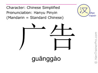 Chinese characters  ( guanggao / guănggào ) with pronunciation (English translation: advertisement )