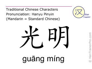 Chinesische Schriftzeichen  ( guang ming / guāng míng ) mit Aussprache (Deutsche Bedeutung: Gallenblase 37 )