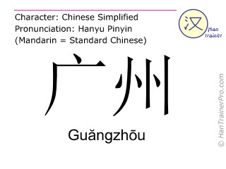 Chinese characters  ( Guangzhou / Guăngzhōu ) with pronunciation (English translation: Guangzhou )