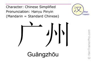 Chinesische Schriftzeichen  ( Guangzhou / Guăngzhōu ) mit Aussprache (Deutsche Bedeutung: Guangzhou )