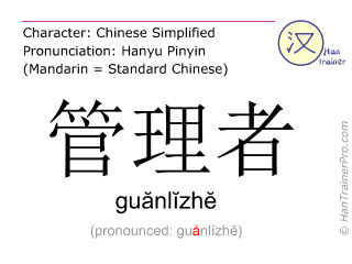 Chinese characters  ( guanlizhe / guănlĭzhĕ ) with pronunciation (English translation: supervisor )