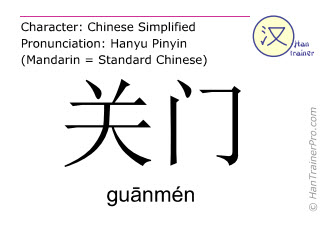Chinese characters  ( guanmen / gu&#257nmén ) with pronunciation (English translation: close )