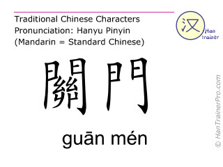 Chinese characters  ( guan men / guān mén ) with pronunciation (English translation: Stomach 22 )