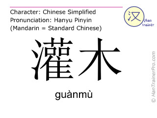 Chinese characters  ( guanmu / guànmù ) with pronunciation (English translation: bush )