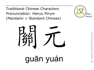 Chinese characters  ( guan yuan / guān yuán ) with pronunciation (English translation: Ren Mai 4 )