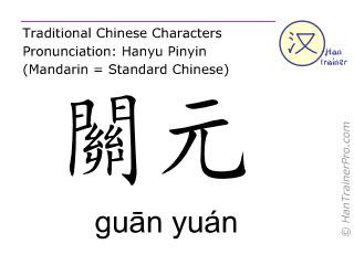 Caractère chinois  ( guan yuan / guān yuán ) avec prononciation (traduction française: Ren Mai 4 )