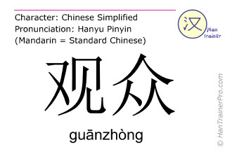 Chinese characters  ( guanzhong / gu&#257nzhòng ) with pronunciation (English translation: audience )