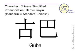 Chinese characters  ( Guba / G&#365b&#257 ) with pronunciation (English translation: Cuba )