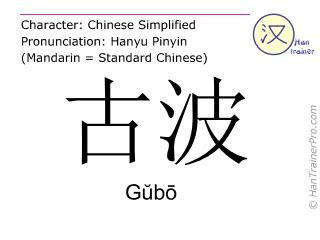 Chinese characters  ( Gubo / Gŭbō ) with pronunciation (English translation: Gubo )