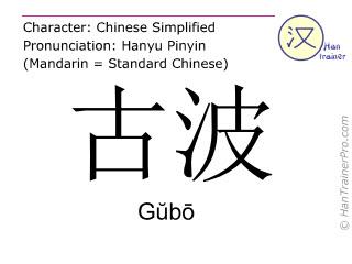 Chinesische Schriftzeichen  ( Gubo / Gŭbō ) mit Aussprache (Deutsche Bedeutung: Gubo )