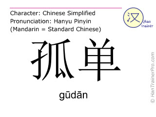 Chinese characters  ( gudan / gūdān ) with pronunciation (English translation: loneliness )