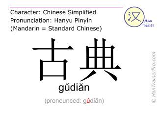 Caractère chinois  ( gudian / gŭdiăn ) avec prononciation (traduction française: classique )
