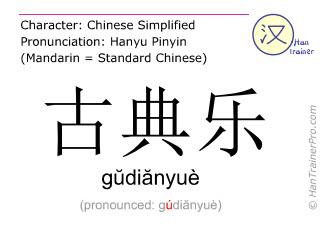 Caracteres chinos  ( gudianyue / gŭdiănyuè ) con pronunciación (traducción española: música clásica )