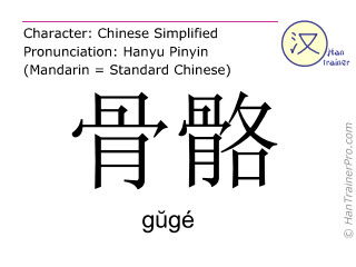 Chinese characters  ( guge / gŭgé ) with pronunciation (English translation: skeleton )