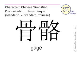 Chinesische Schriftzeichen  ( guge / gŭgé ) mit Aussprache (Deutsche Bedeutung: Skelett )