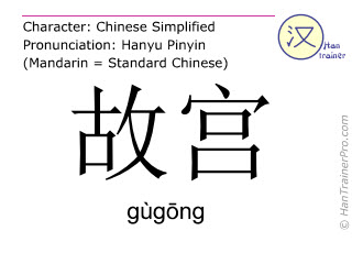 Chinese characters  ( gugong / gùgōng ) with pronunciation (English translation: the Imperial Palace )