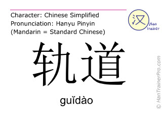 Chinese characters  ( guidao / gu&#301dào ) with pronunciation (English translation: orbit )
