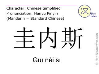 Caracteres chinos  ( Gui nei si / Guī nèi sī ) con pronunciación (traducción española: Gwynedd )