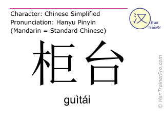Chinese characters  ( guitai / guìtái ) with pronunciation (English translation: counter )